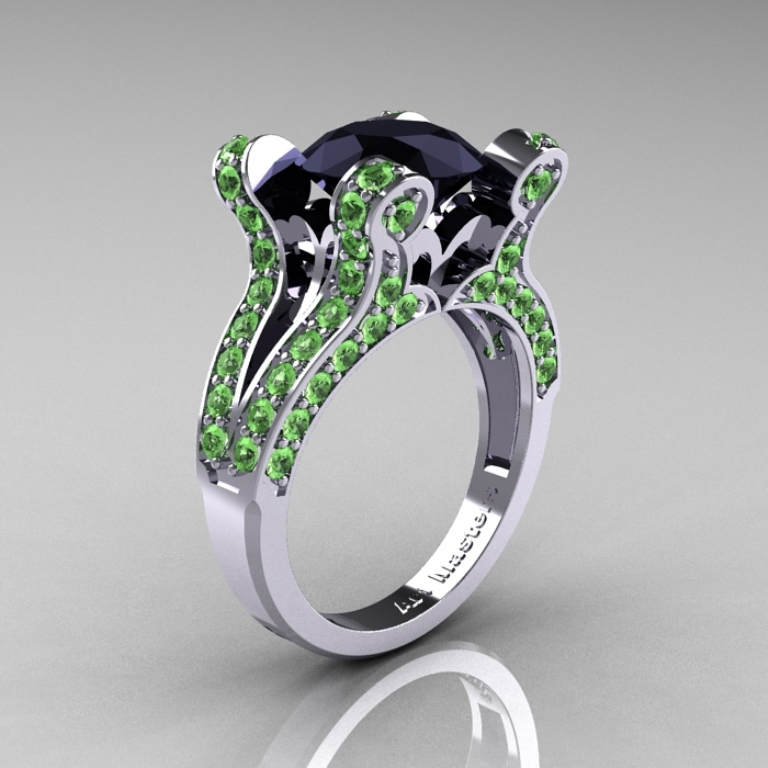 French-Vintage-White-Gold-3-0-Carat-Black-Diamond-Green-Topaz-Pisces-Weddinng-Ring-Engagement-Ring-Y228-WGGTBD-P-700x700 30 Fascinating & Dazzling Green diamond rings