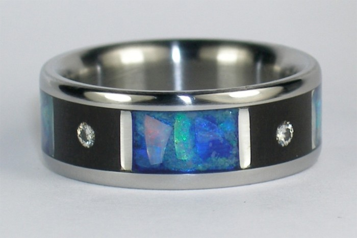 Gem-Quarters-wood-opal-and-diamonds-inlay-womens-Titanium-Ring Top 40 Gorgeous Hawaiian Wedding Rings and Bands