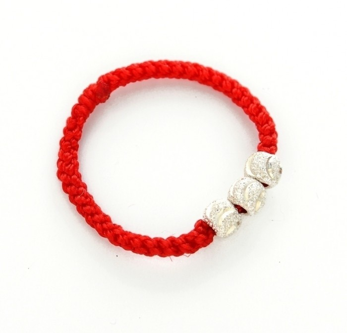 Genuine-925-Solid-silver-Ring-Handmade-925-pure-silver-red-string-bead-transfer-ring-pinky-ring 65 Fabulous & Stunning Handmade Beaded Gemstone Jewelries