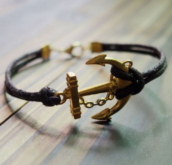 Gold-Anchor-Bracelet-Brown-Wax-Cord-Leather-Single-Bracelet-for-Men-Women-Best-Gift-Jewelry 40 Elegant & Catchy Handmade Men's Jewelry