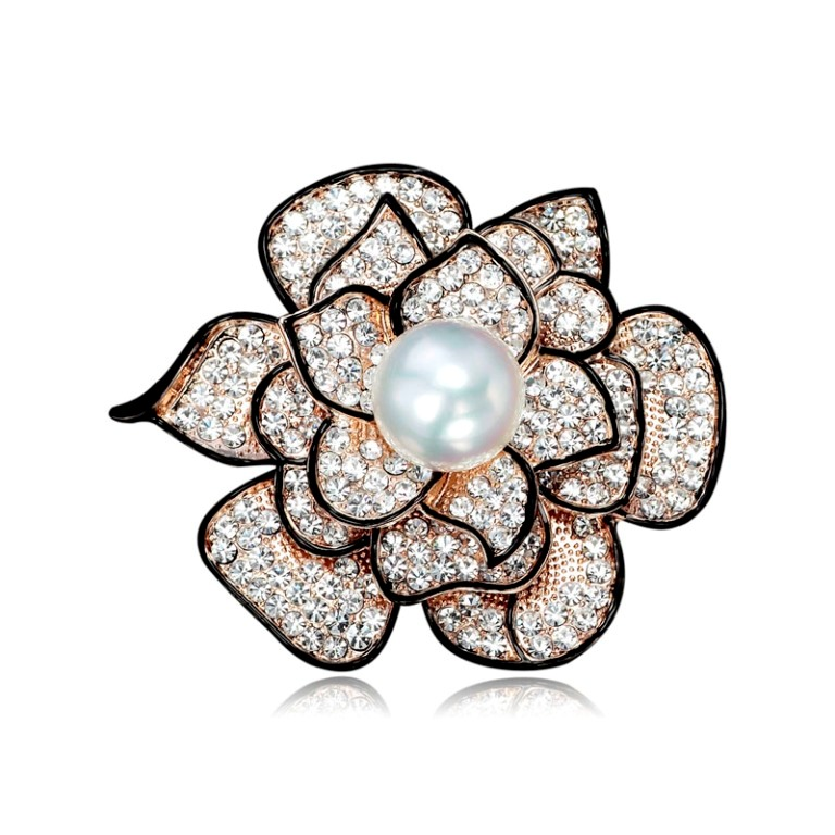 Gold-Pearl-Rose-Flower-Brooch-Pin-Czech-Rhinestone__11265_zoom 50 Wonderful & Fascinating Pearl Brooches