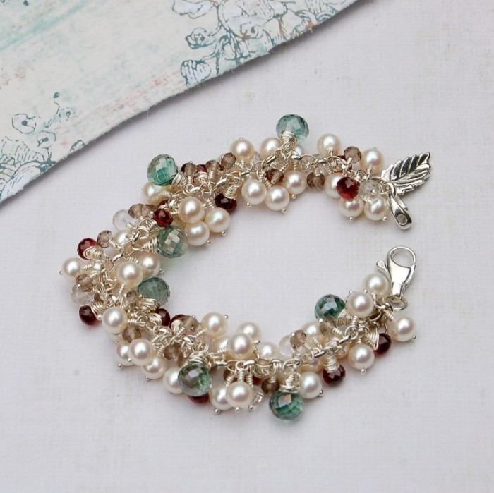 Handmade-Pearl-and-Gemstone-Leaf-cluster-bracelet-4 65 Fabulous & Stunning Handmade Beaded Gemstone Jewelries
