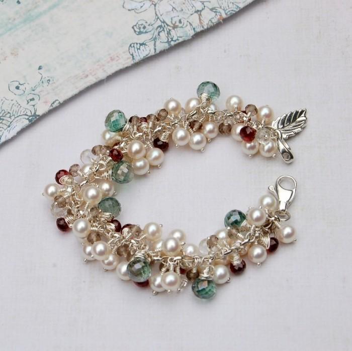 Handmade-Pearl-and-Gemstone-Leaf-cluster-bracelet-4 65 Fabulous & Stunning Handmade Beaded Gemstone Jewelries