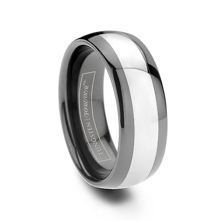 Imperial-8mm-Ceramic-Inlay-Black-Tungsten-Ring 60 Unbelievable Ceramic Wedding Bands for Him & Her
