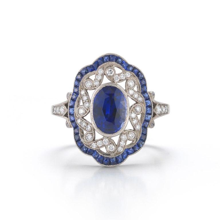 Kwiat-sapphire-vintage-ring 50 Unique Vintage Classic Diamond Engagement Rings