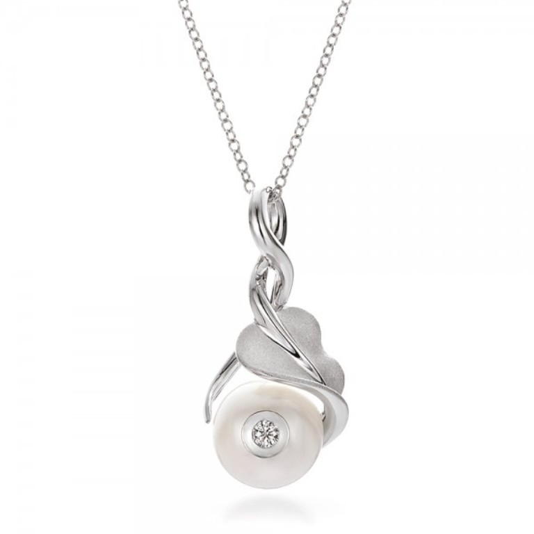 Leaf-Fresh-White-Pearl-and-Diamond-Pendant-front-100343 50 Unique Diamond Necklaces & Pendants