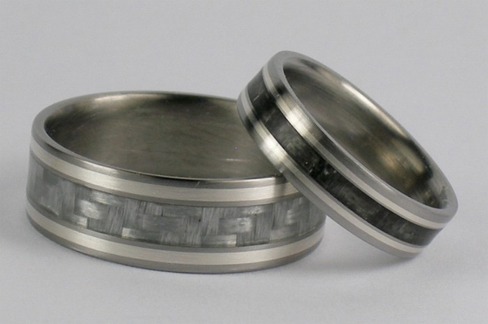 Matching-Set-Carbon-Fiber-and-Sterling-inlay-Titanium-Rings Top 40 Gorgeous Hawaiian Wedding Rings and Bands