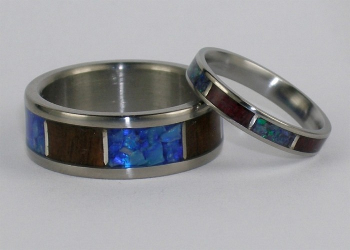 Matching-Set-Hawaiian-Ipe-Wood-AAA-Blue-Opal-Stone-Sterling-inlay-Titanium-Ring Top 40 Gorgeous Hawaiian Wedding Rings and Bands