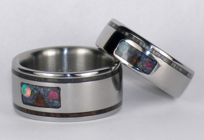 Maunakea-Custom-inlay-Titanium-Ring-Set Top 40 Gorgeous Hawaiian Wedding Rings and Bands
