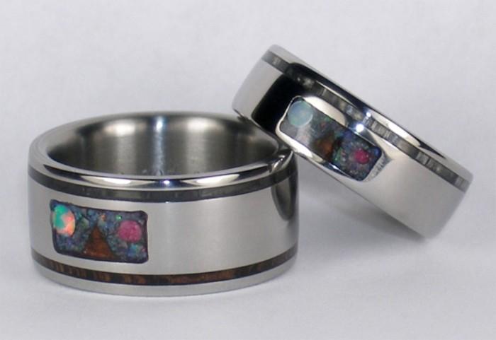 Maunakea-Custom-inlay-Titanium-Ring-Set Top 40 Gorgeous Hawaiian Wedding Rings and Bands