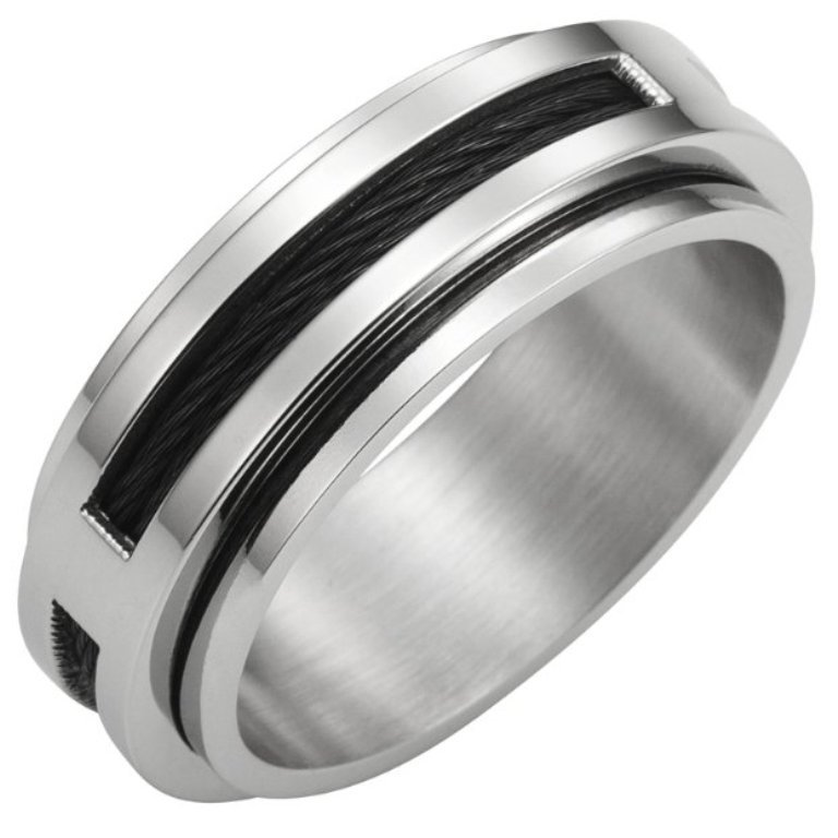 Mechanic-Style-Stainless-Steel-Mens-Cable-Ring-Band-8mm-2 40 Unique & Unusual Wedding Rings for Him & Her