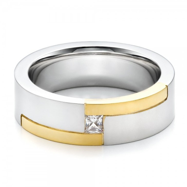 Mens-Two-Tone-and-Diamond-Wedding-Band-flat-100123 60 Breathtaking & Marvelous Diamond Wedding bands for Him & Her