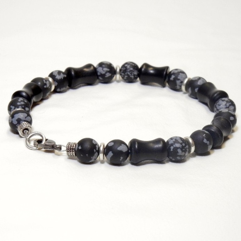 Mens_Handmade_Beaded_Bracelet_-_Blackstone_and_Obsidian-1 40 Elegant & Catchy Handmade Men's Jewelry