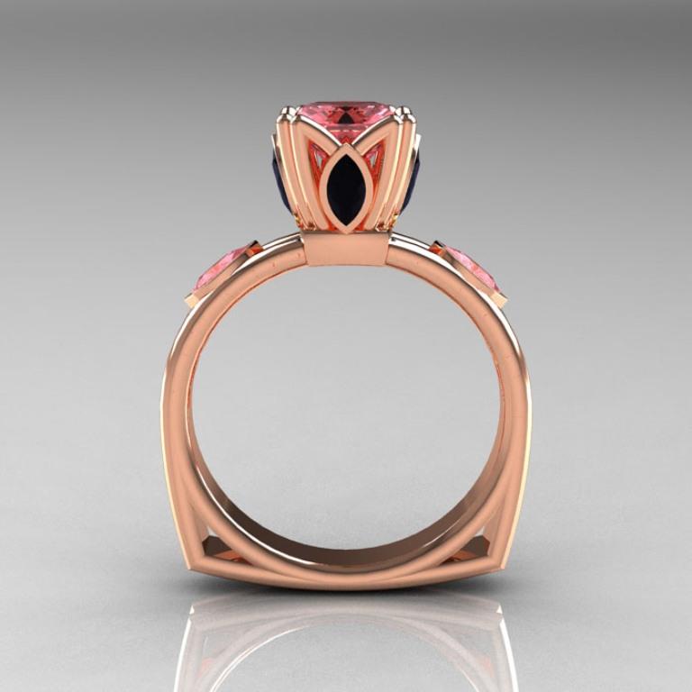 Modern-Antique-14K-Rose-Gold-1-CT-Princess-Morganite-Marquise-Black-Diamond-Solitaire-Ring-R219-RGMOBD-F-700x700 50 Non-Traditional Black Diamond Rose Gold Engagement Rings