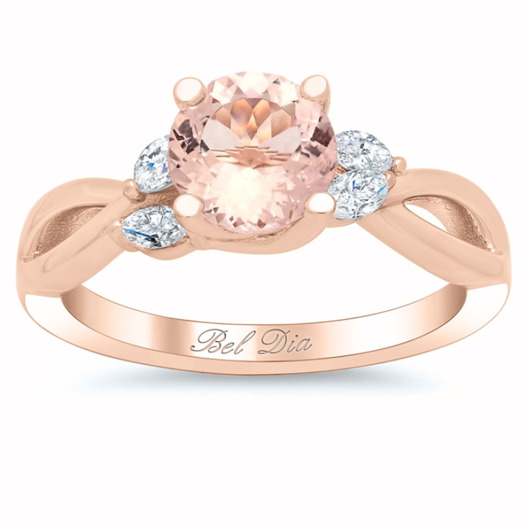 Morganite-Vine-Twisted-Rose-Gold-Engagement-Ring-with-Marquise-Diamonds Top 70 Dazzling & Breathtaking Rose Gold Engagement Rings