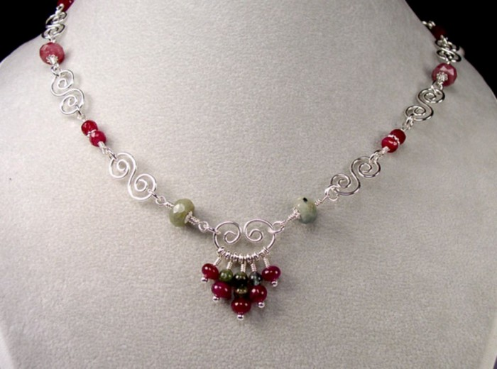 NEC29_tourmaline_ruby_gemstone_necklace 65 Fabulous & Stunning Handmade Beaded Gemstone Jewelries