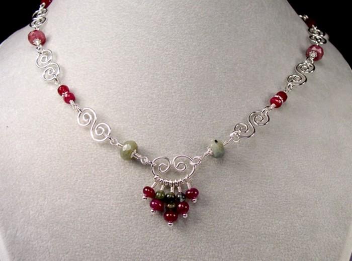 NEC29_tourmaline_ruby_gemstone_necklace 65 Fabulous & Stunning Handmade Beaded Gemstone Jewelries