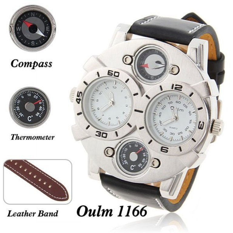 Oulm-Brand-Multi-Function-japan-movement-fashion-Men-watch-with-Dual-Movt-Dial-Genuine-Leather-Black Best 35 Military Watches for Men