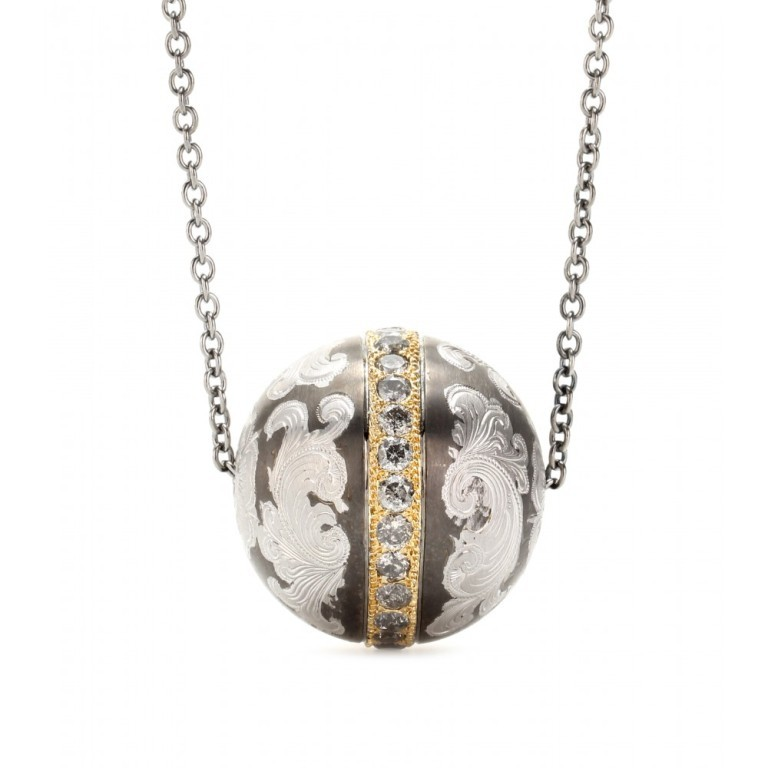 P00041523-NIELLO-ENGRAVED-SILVER-BALL-PENDANT-NECKLACE-WITH-GREY-DIAMONDS-AND-18KT-GOLD-STANDARD 50 Unique Diamond Necklaces & Pendants