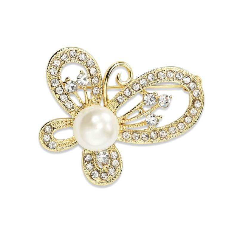 Pearl-Butterfly-Pin-Rhinestone-Brooch-Gold__43175_zoom 50 Wonderful & Fascinating Pearl Brooches