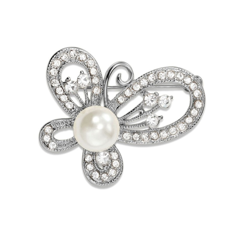 Pearl-Butterfly-Pin-Rhinestone-Brooch-Silver__48086_zoom 50 Wonderful & Fascinating Pearl Brooches