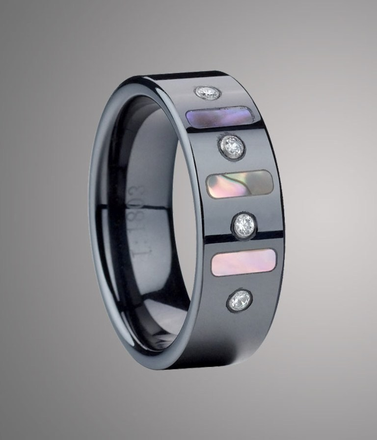 Polished_Flat_Black_Ceramic_Wedding_Band_with_Alternate_Shell_and_Zircon_Stones_Inlay_FB1803_05__64429_zoom 60 Unbelievable Ceramic Wedding Bands for Him & Her