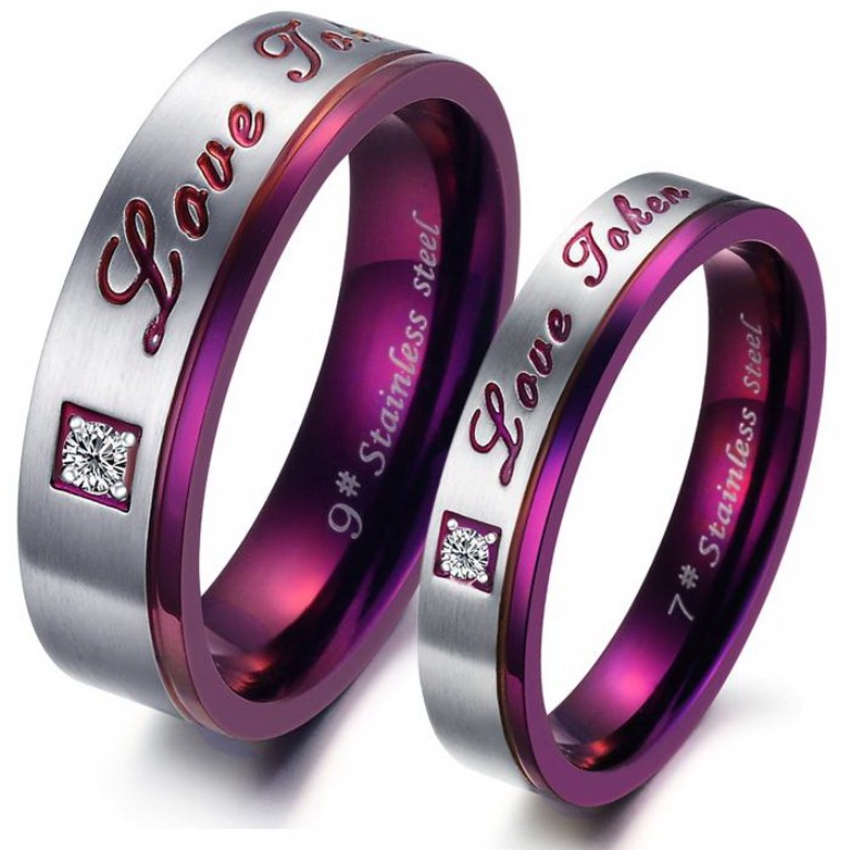 Purple-Classic-Titanium-Stainless-Steel-Mens-Ladies-Couple-Promise-Ring-Wedding-Bands-Matching-Set_3374_1 60 Unbelievable Ceramic Wedding Bands for Him & Her