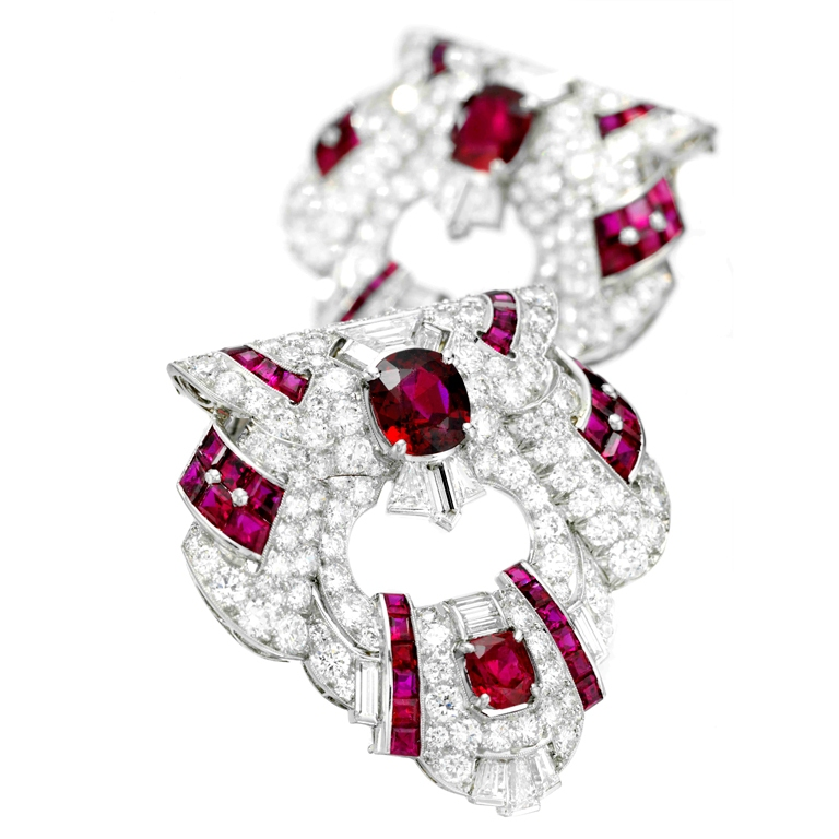 RAYMOND-YARD-A-Pair-of-Ruby-and-Diamond-Clip-Brooches-FD 35 Elegant & Wonderful Antique Diamond Brooches