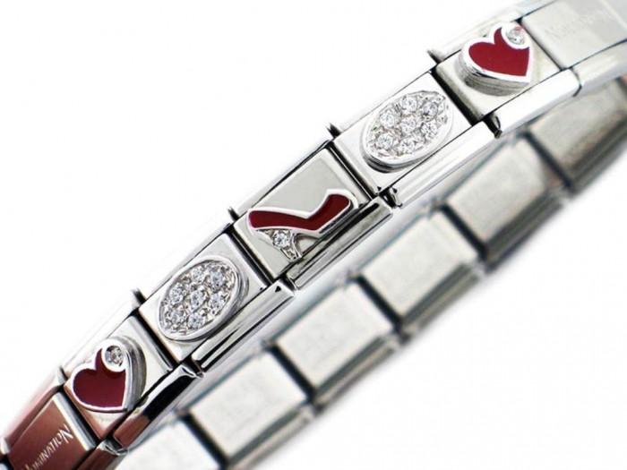 Red-Heart-Red-Shoe-Bracelet 25 Amazing & Catchy Italian Link Charm Bracelets