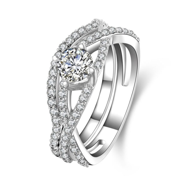 Sterling-Silver-Round-Cut-CZ-Pave-Bridal-Engagement-Wedding-Halo-Ring-Set 35 Dazzling & Catchy Bridal Wedding Ring Sets