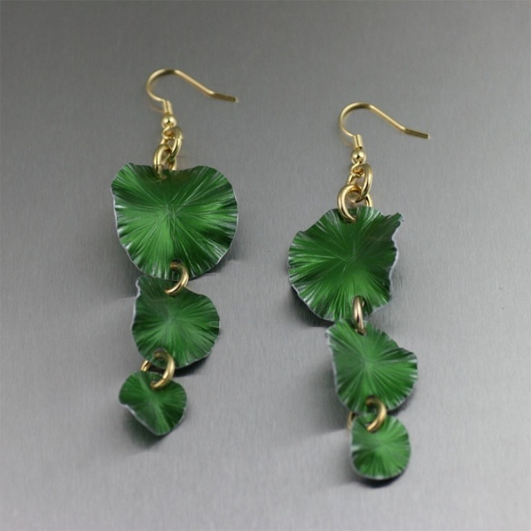 Three-Tiered-Green-Anodized-Aluminum-Lily-Pad-Earrings1 45 Unusual and Non-traditional Earrings