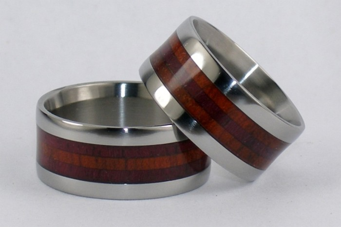 Titanium-Rings-Matching-set-Style-W3F-Wood-inlay Top 40 Gorgeous Hawaiian Wedding Rings and Bands