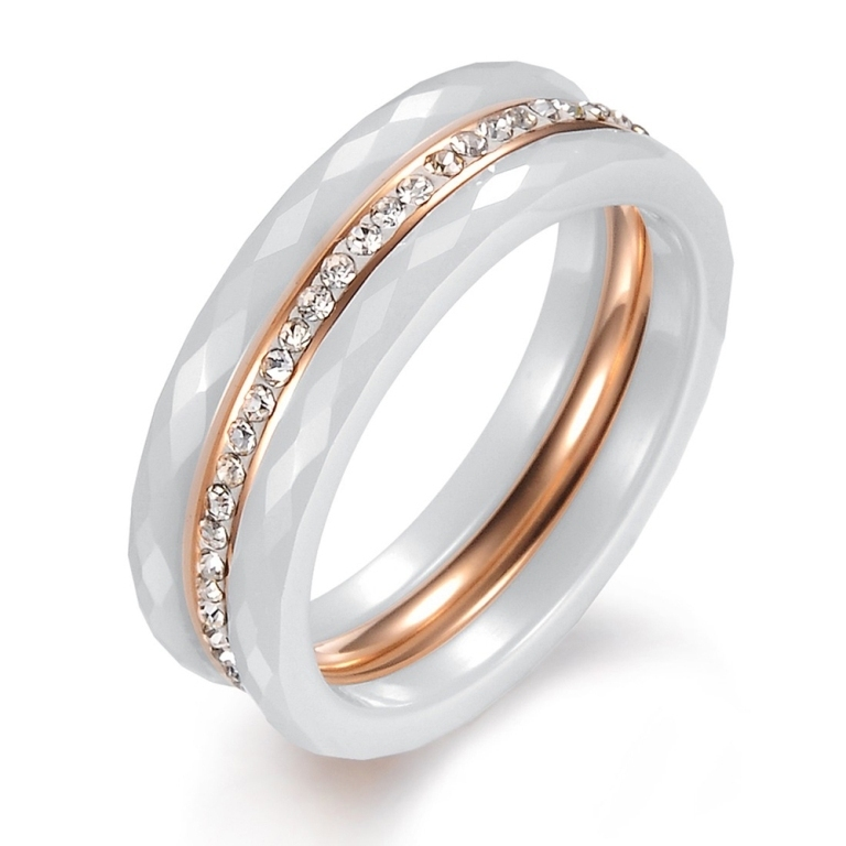 Titanium-Steel-font-b-White-b-font-font-b-Ceramic-b-font-Shinning-Crystal-Drill-Interlacing 60 Unbelievable Ceramic Wedding Bands for Him & Her