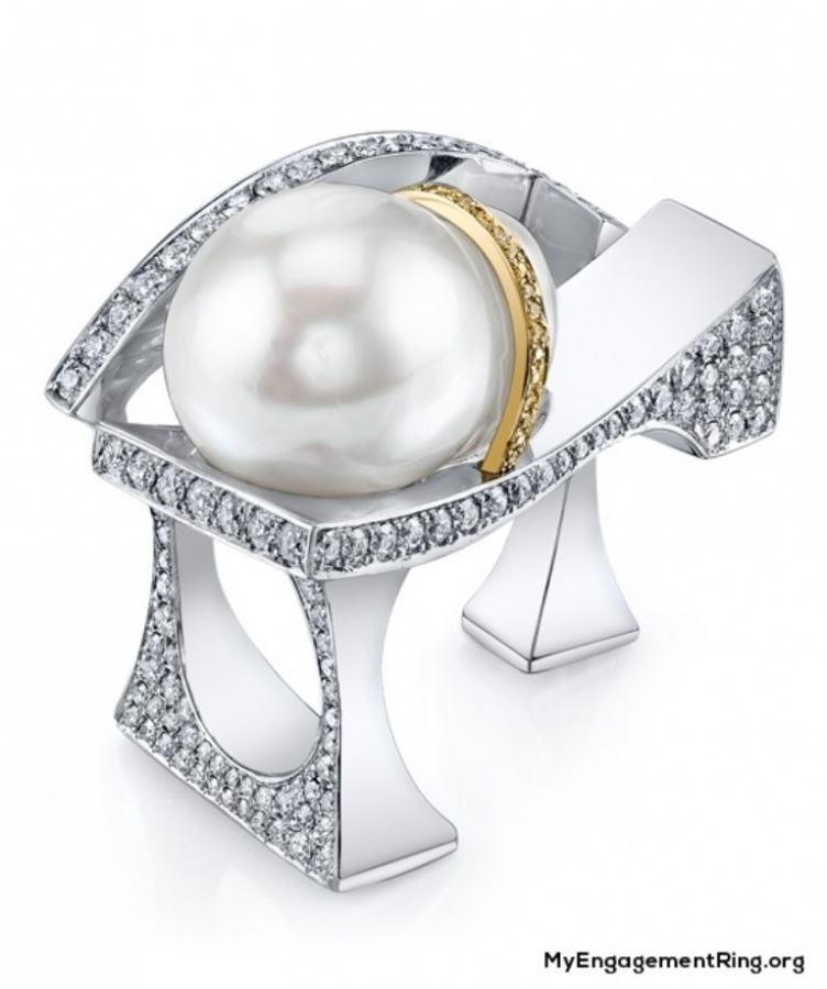 Unusual-Pearl-engagement-ring 40 Unique & Unusual Wedding Rings for Him & Her