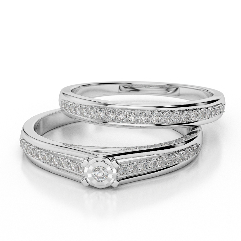 WGold_Diamond_Ring_1059_3 35 Dazzling & Catchy Bridal Wedding Ring Sets