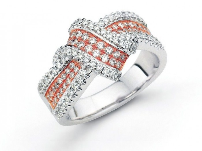 White-and-Rose-Gold-Engagement-Rings Top 70 Dazzling & Breathtaking Rose Gold Engagement Rings