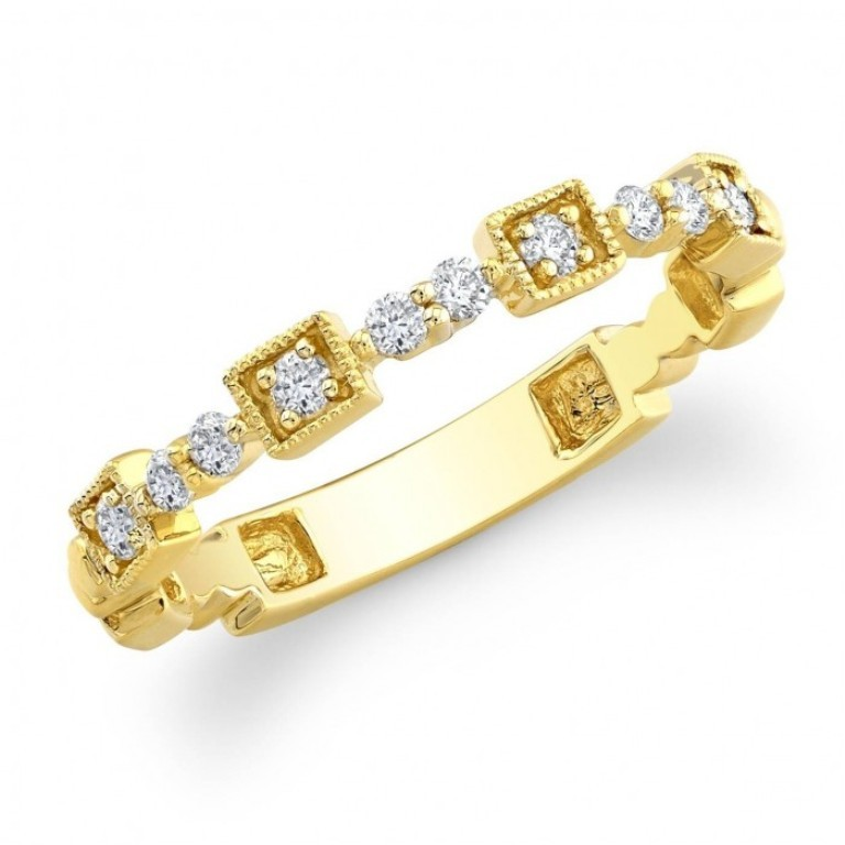 Yellow-Gold-Stacking-Diamond-Wedding-Rings-700x700-4fc5c823cc1ce 60 Breathtaking & Marvelous Diamond Wedding bands for Him & Her