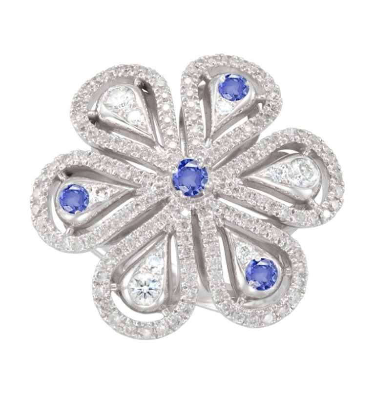 antique-micropave-diamond-sapphire-flower-ring 35 Elegant & Wonderful Antique Diamond Brooches