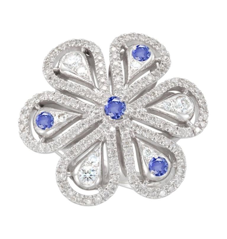 antique-micropave-diamond-sapphire-flower-ring 35 Elegant & Wonderful Antique Diamond Brooches
