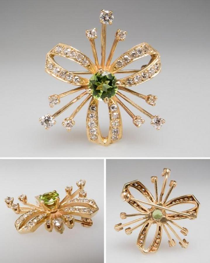 antique-peridot-diamond-brooch-wm7809 35 Elegant & Wonderful Antique Diamond Brooches