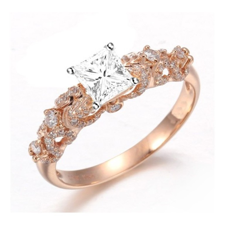 beautiful-1-carat-princess-diamond-engagement-ring-on-18k-rose-gold Top 70 Dazzling & Breathtaking Rose Gold Engagement Rings