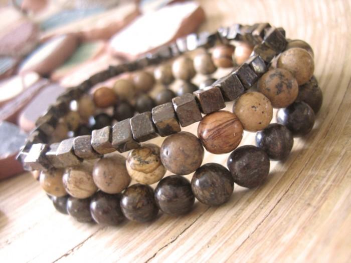 bronzite-picture-jasper-mens-bracelet-promo 40 Elegant & Catchy Handmade Men's Jewelry