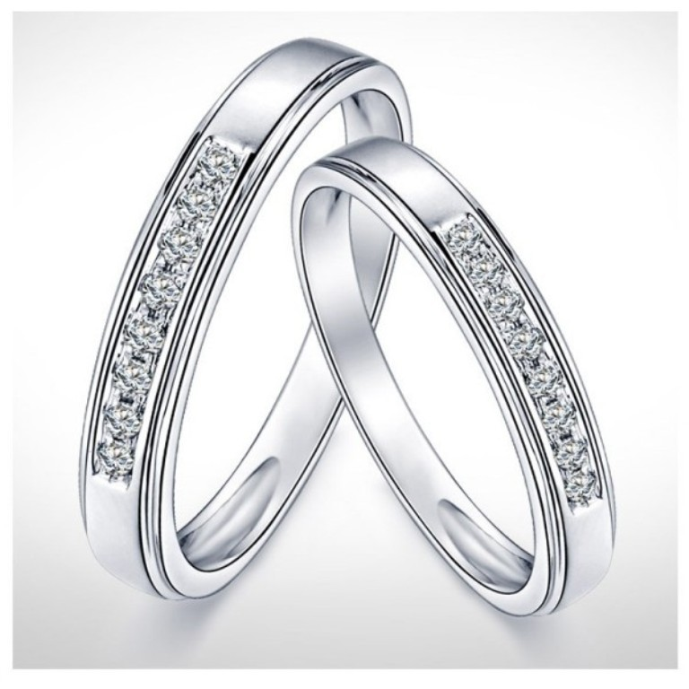 cheap-couples-matching-diamond-wedding-ring-bands-on-gold 60 Breathtaking & Marvelous Diamond Wedding bands for Him & Her
