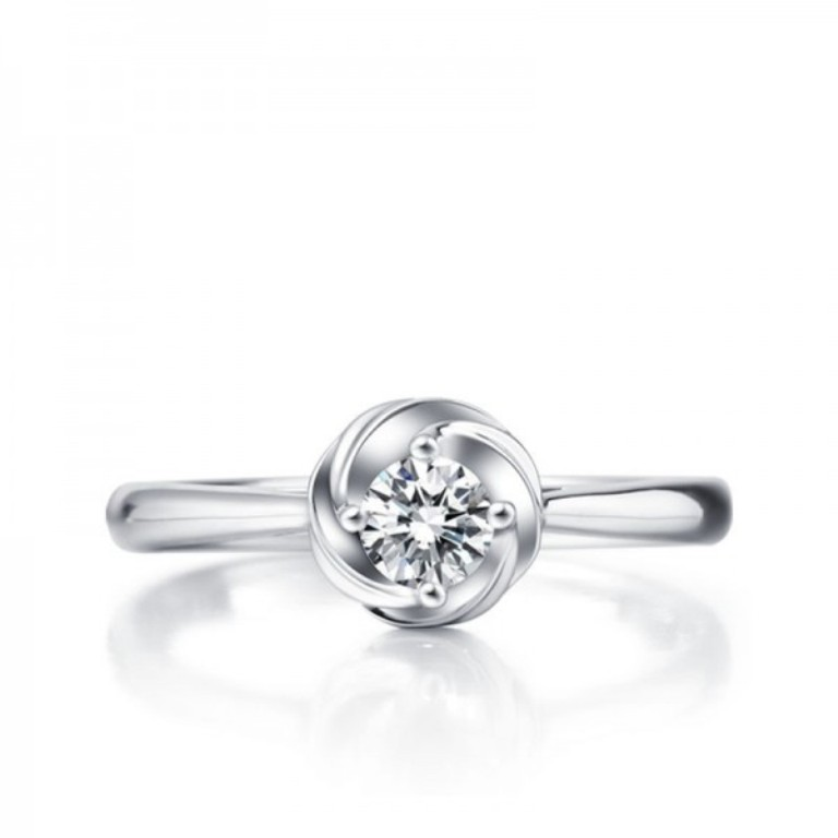 circle-flower-round-cut-diamond-solitaire-engagement-ring 35 Fascinating & Stunning Round Solitaire Engagement Rings