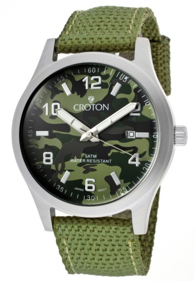 croton-watches-mens-military-green-camouflage-dial-green-woven-nylon-ca301234lggr Best 35 Military Watches for Men