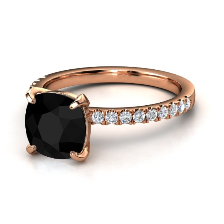 cushion-black-onyx-14k-rose-gold-ring-with-diamond 50 Non-Traditional Black Diamond Rose Gold Engagement Rings