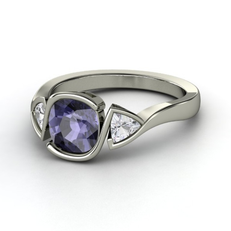 cushion-iolite-palladium-ring-with-white-sapphire 35 Fabulous Antique Palladium Engagement Rings