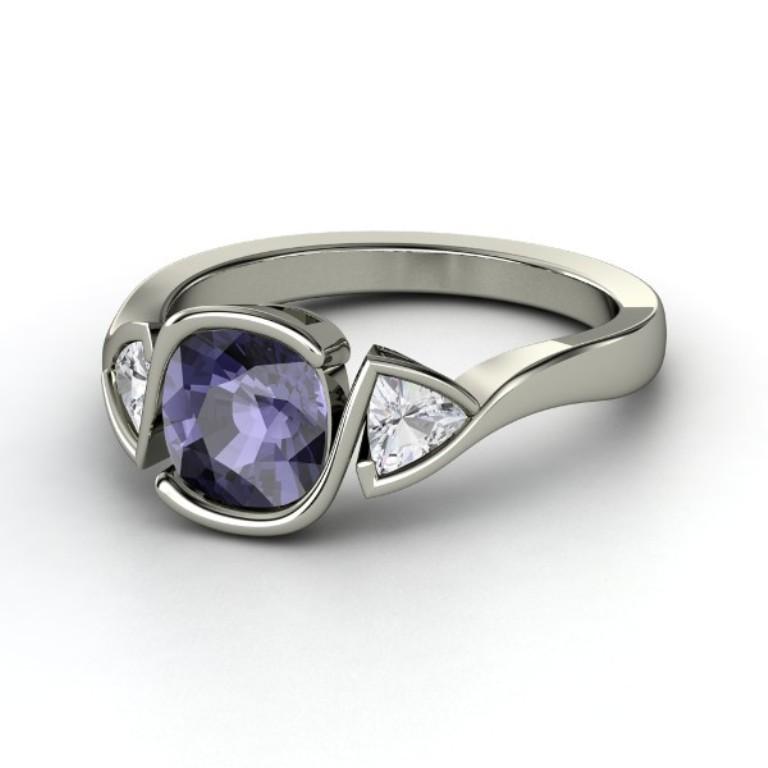cushion-iolite-palladium-ring-with-white-sapphire 35 Fabulous Antique Palladium Engagement Rings