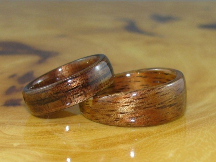 dark-hawaiian-koa-and-golden-hawaiian-koa Top 40 Gorgeous Hawaiian Wedding Rings and Bands