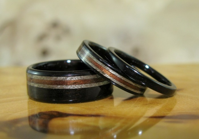 dark-hawaiian-koa-grey-maple-and-african-blackwood-wedding-bands-and-engagement-ring Top 40 Gorgeous Hawaiian Wedding Rings and Bands